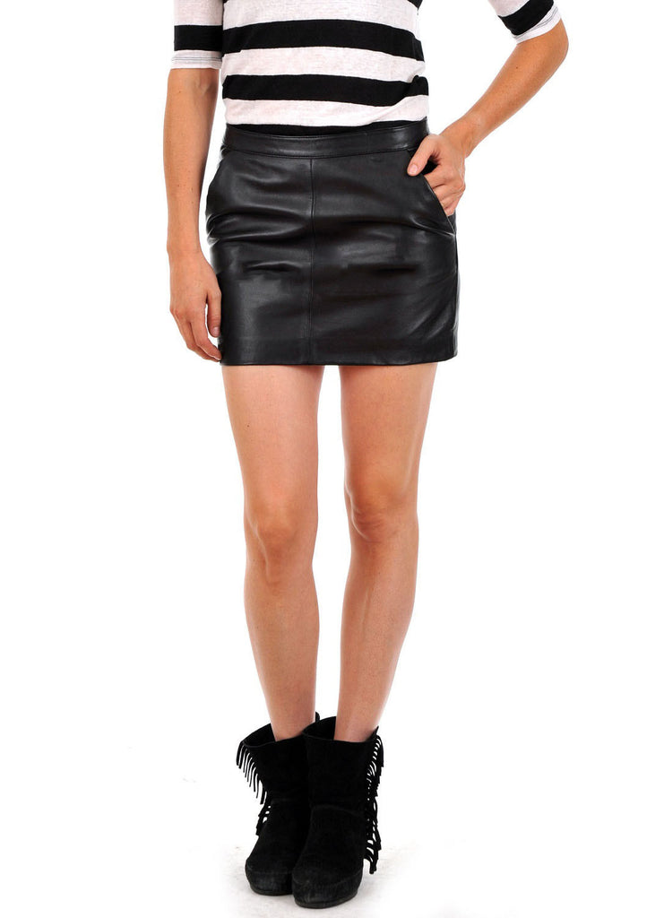 Knee Length Skirt - Women Real Lambskin Leather Slim Fit Skirt WS064 - Koza Leathers