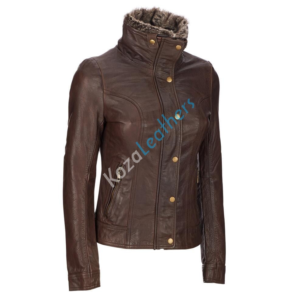 Women Real Lambskin Leather Biker Jacket KW116