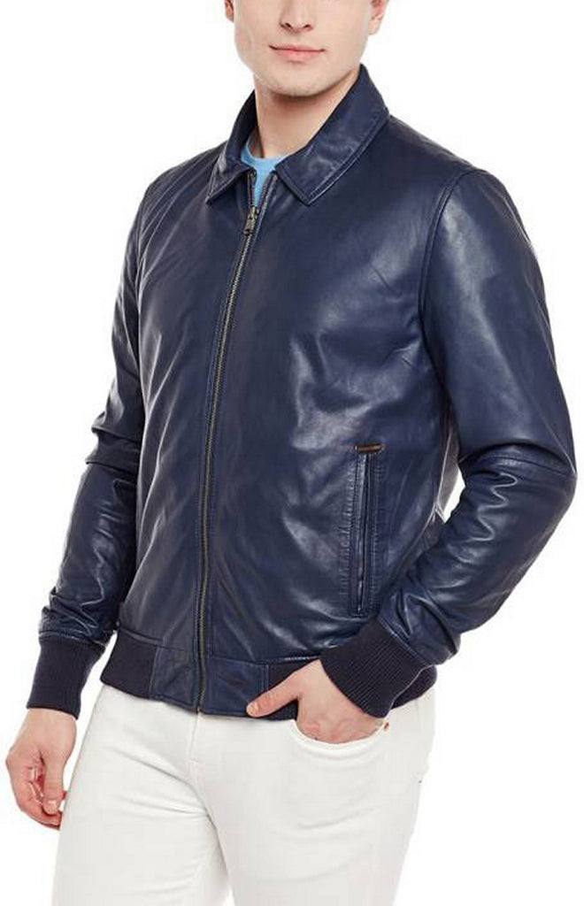 Biker Jacket - Men Real Lambskin Motorcycle Leather Biker Jacket KM402 - Koza Leathers