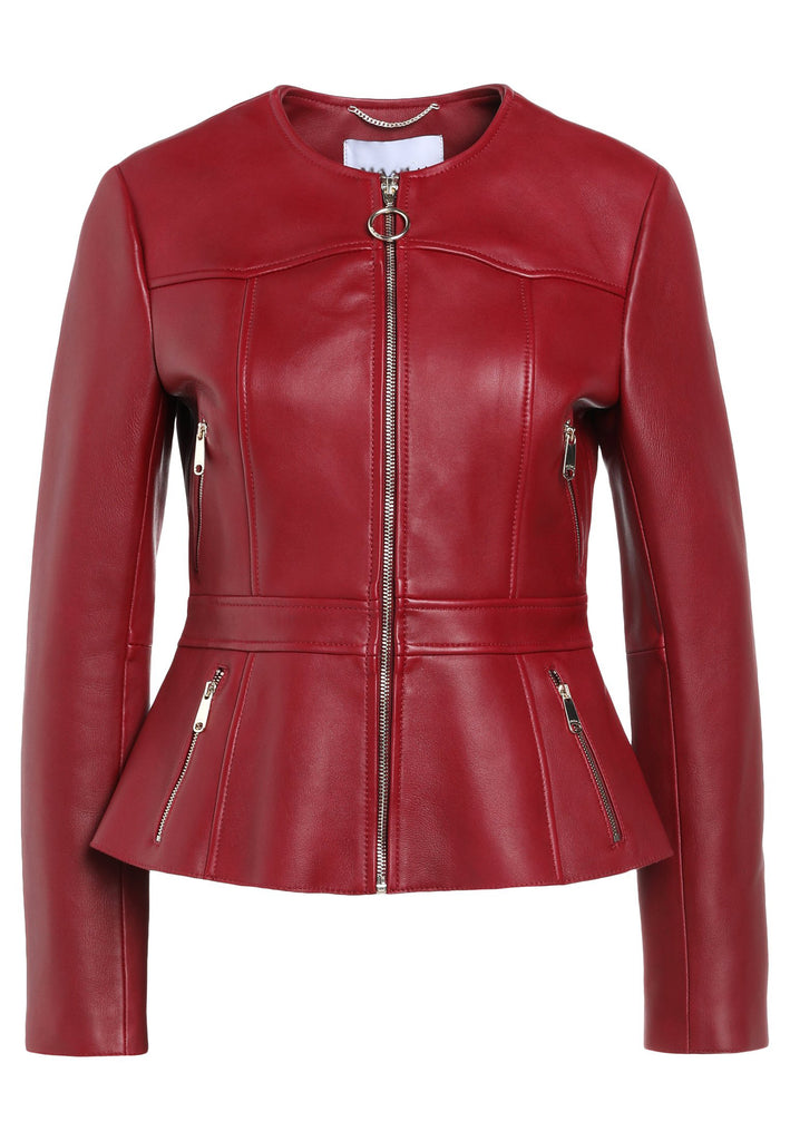 Biker / Motorcycle Jacket - Women Real Lambskin Leather Biker Jacket KW211 - Koza Leathers