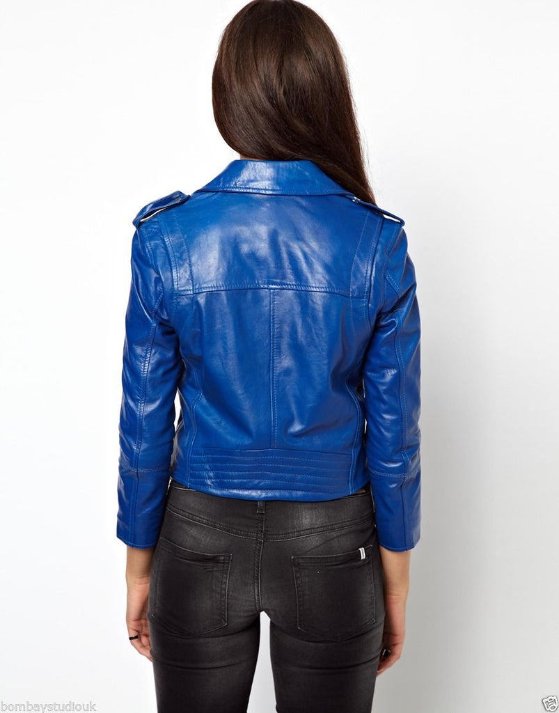 Biker / Motorcycle Jacket - Women Real Lambskin Leather Biker Jacket KW041 - Koza Leathers