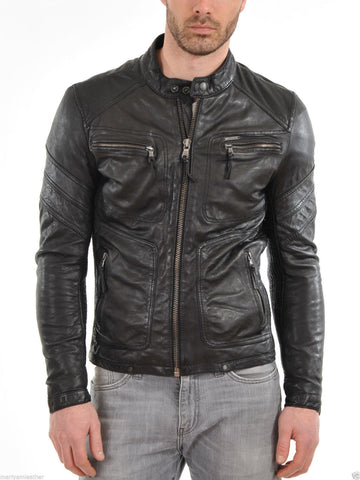 Biker Jacket - Men Real Lambskin Leather Jacket KM020 - Koza Leathers