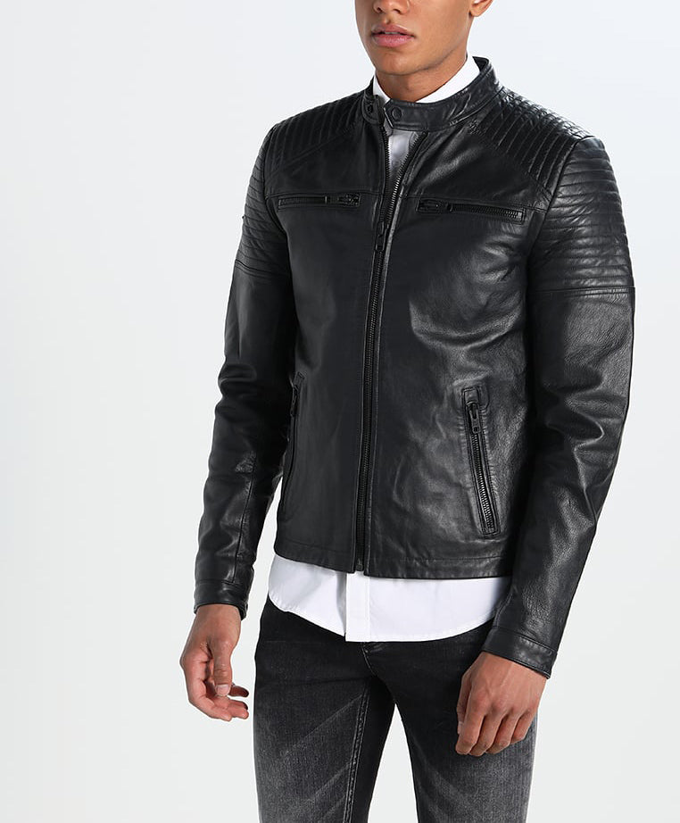Biker Jacket - Men Real Lambskin Motorcycle Leather Biker Jacket KM256 - Koza Leathers