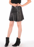 Knee Length Skirt - Women Real Lambskin Leather Slim Fit Skirt WS066 - Koza Leathers