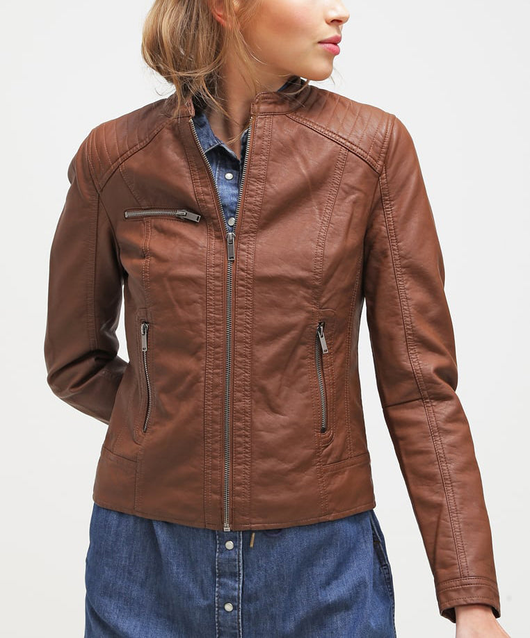 Biker / Motorcycle Jacket - Women Real Lambskin Leather Biker Jacket KW212 - Koza Leathers