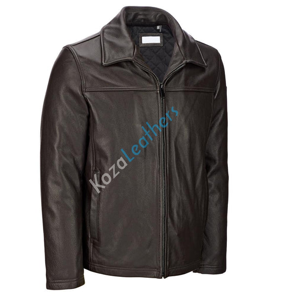 Biker Jacket - Men Real Lambskin Motorcycle Leather Biker Jacket KM165 - Koza Leathers