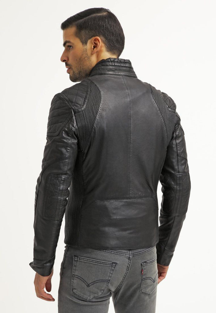Biker Jacket - Men Real Lambskin Leather Jacket KM006 - Koza Leathers