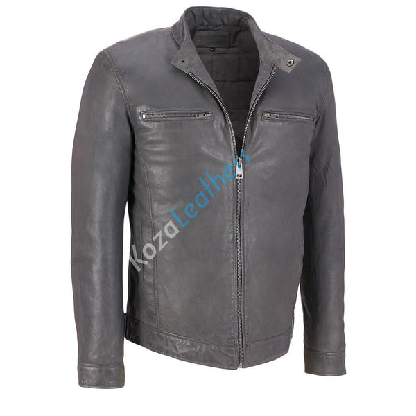 Biker Jacket - Men Real Lambskin Motorcycle Leather Biker Jacket KM166 - Koza Leathers