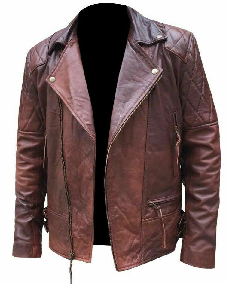 Koza Leathers Men's Genuine Lambskin Leather Vintage Motorcycle Jacket VJ004