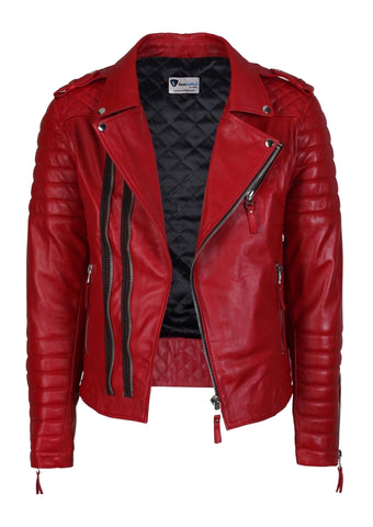 Biker Jacket - Men Real Lambskin Leather Jacket KM019 - Koza Leathers
