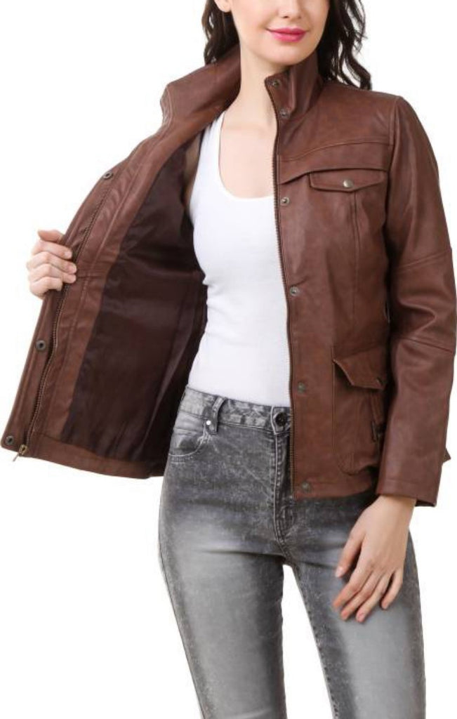 Biker / Motorcycle Jacket - Women Real Lambskin Leather Biker Jacket KW377 - Koza Leathers