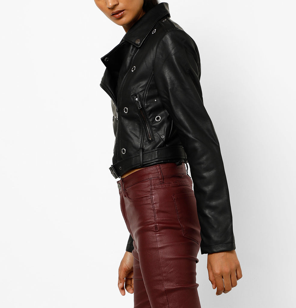 Biker / Motorcycle Jacket - Women Real Lambskin Leather Biker Jacket KW555 - Koza Leathers