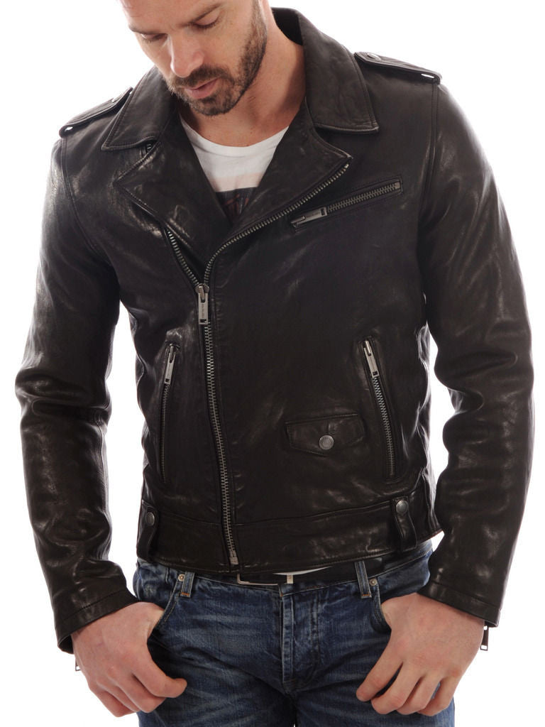 Biker Jacket - Men Real Lambskin Leather Jacket KM004 - Koza Leathers