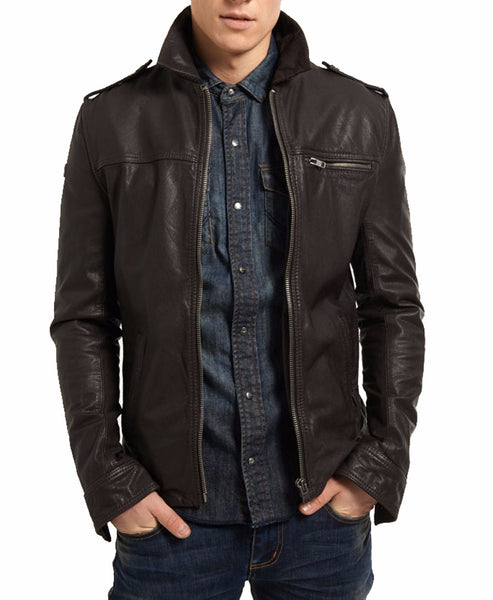 Biker Jacket - Men Real Lambskin Leather Jacket KM022 - Koza Leathers