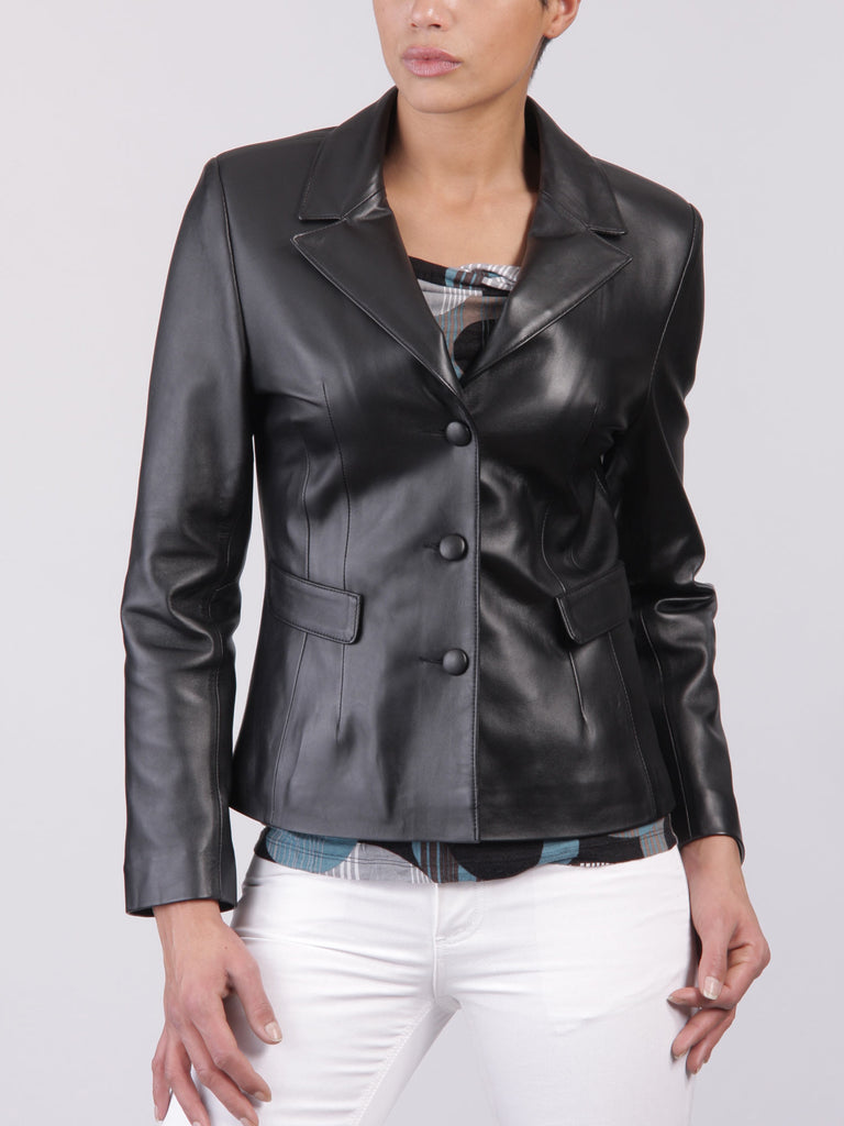 Koza Leathers Women's Real Lambskin Leather Blazer BW058