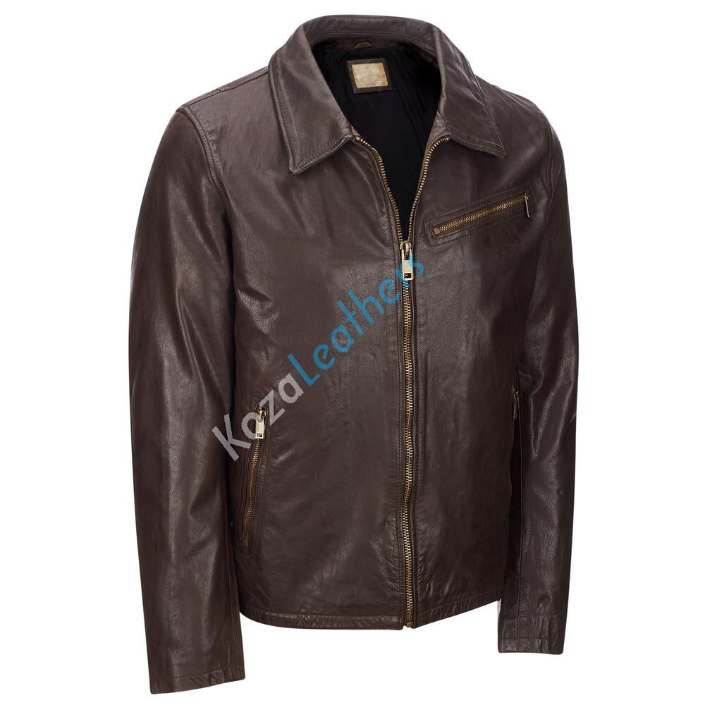 Biker Jacket - Men Real Lambskin Motorcycle Leather Biker Jacket KM167 - Koza Leathers