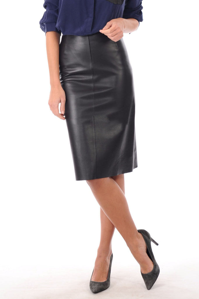 Knee Length Skirt - Women Real Lambskin Leather Slim Fit Skirt WS068 - Koza Leathers