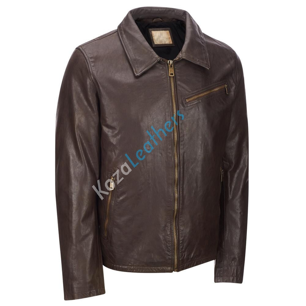 Koza Leathers Men's Genuine Lambskin Bomber Leather Jacket NJ017