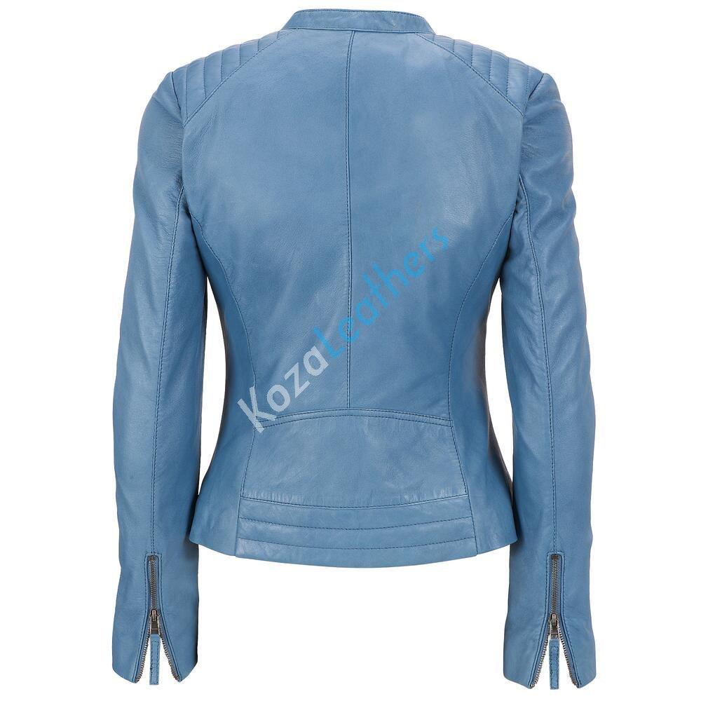 Women Real Lambskin Leather Biker Jacket KW119