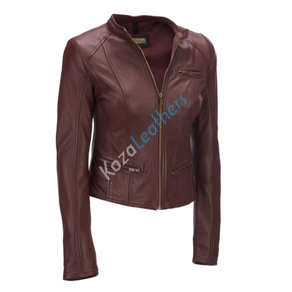 Biker / Motorcycle Jacket - Women Real Lambskin Leather Biker Jacket KW176 - Koza Leathers