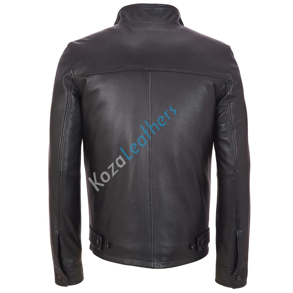 Biker Jacket - Men Real Lambskin Motorcycle Leather Biker Jacket KM168 - Koza Leathers