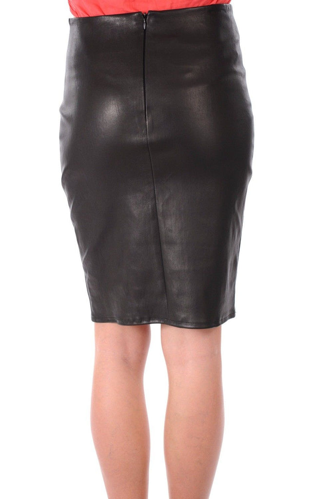 Knee Length Skirt - Women Real Lambskin Leather Slim Fit Skirt WS069 - Koza Leathers