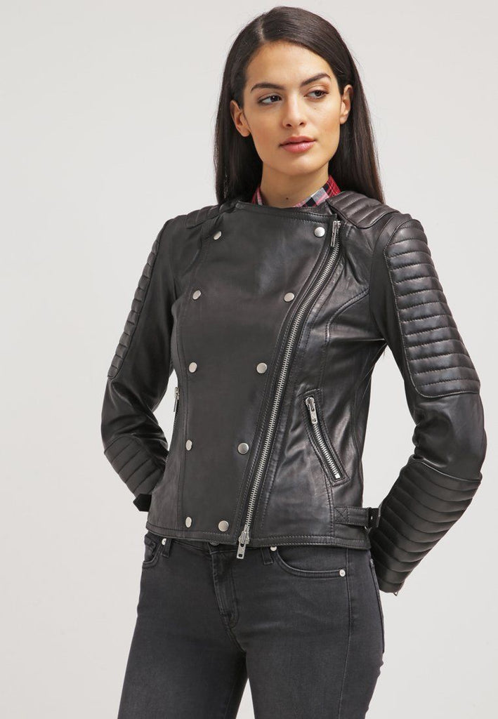 Biker / Motorcycle Jacket - Women Real Lambskin Leather Biker Jacket KW042 - Koza Leathers