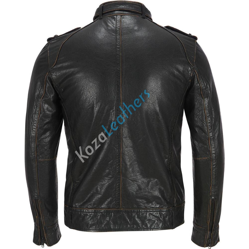 Biker Jacket - Men Real Lambskin Motorcycle Leather Biker Jacket KM170 - Koza Leathers