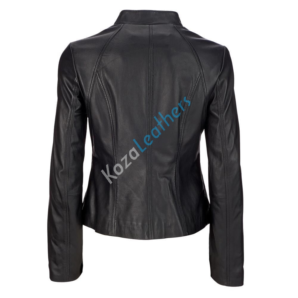 Women Real Lambskin Leather Biker Jacket KW121