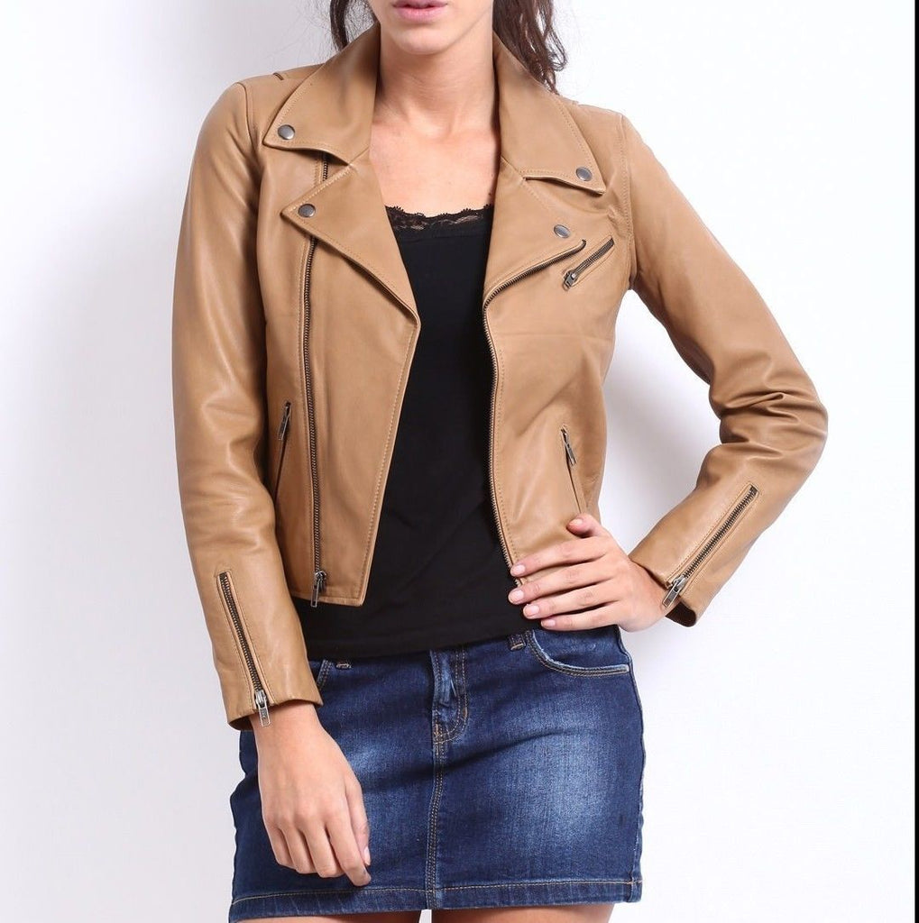 Women Real Lambskin Leather Biker Jacket KW043