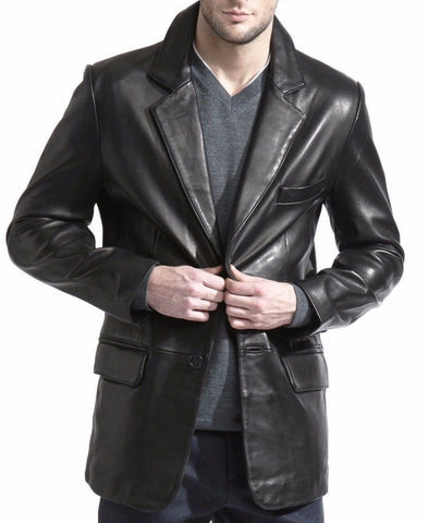 Leather Blazer - Men Real Sheepskin Leather Blazer KB006 - Koza Leathers