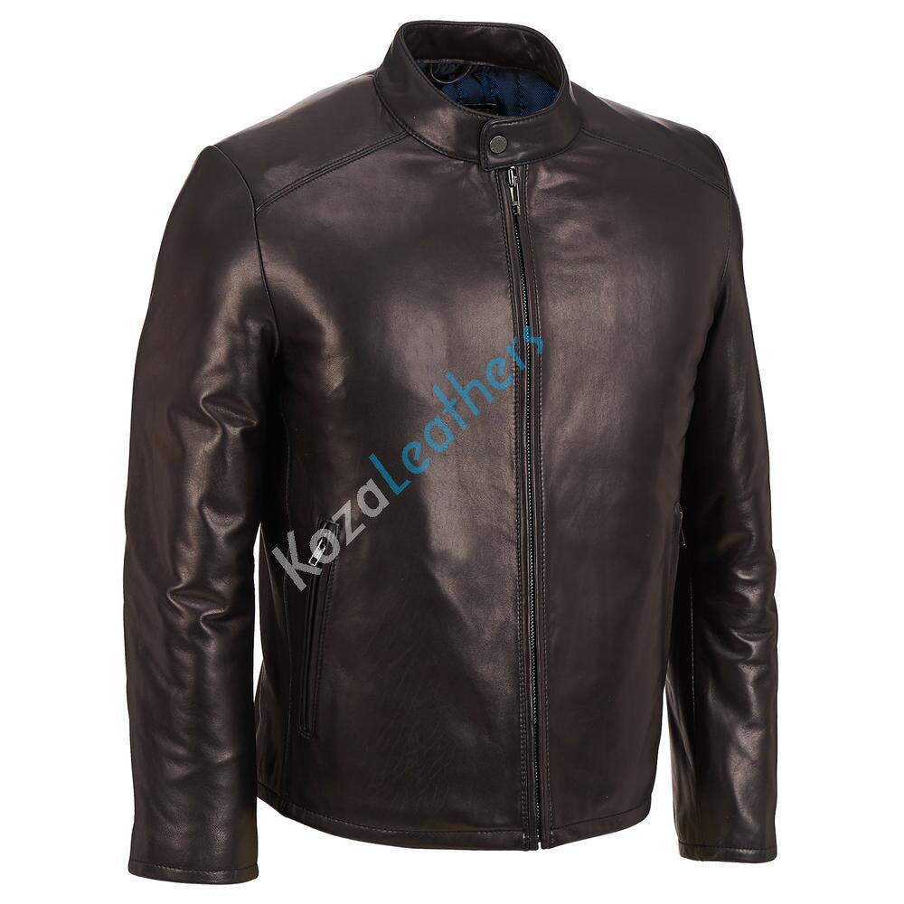 Biker Jacket - Men Real Lambskin Motorcycle Leather Biker Jacket KM171 - Koza Leathers
