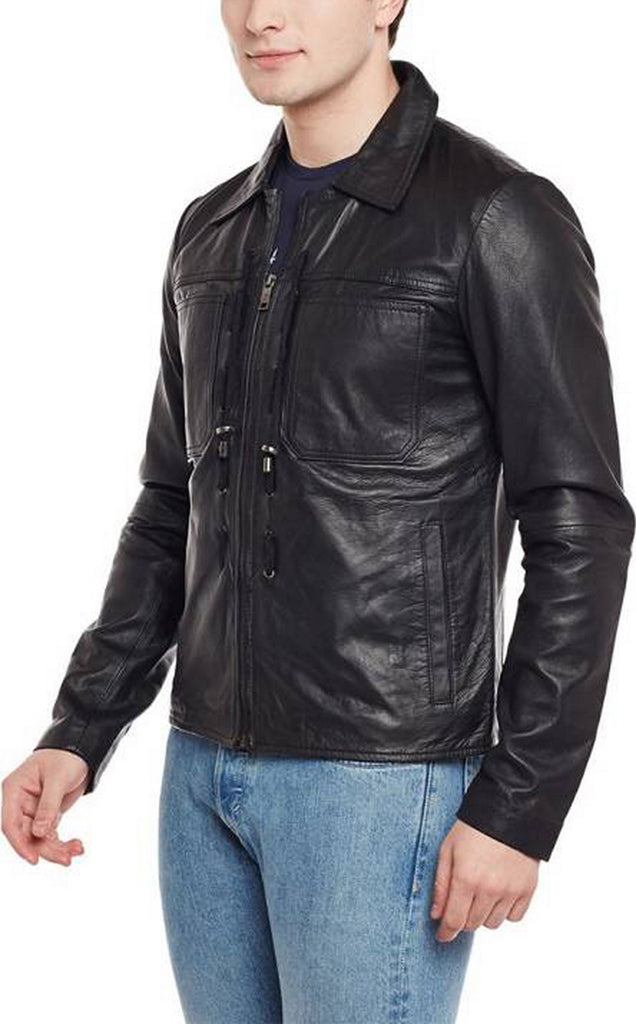 Biker Jacket - Men Real Lambskin Motorcycle Leather Biker Jacket KM412 - Koza Leathers