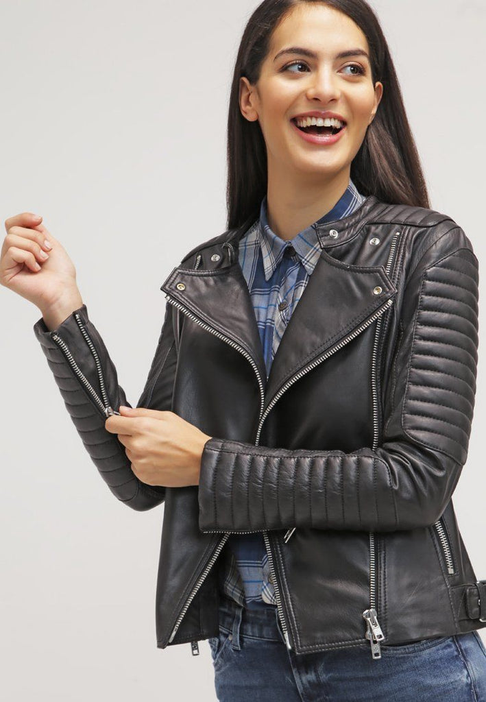 Biker / Motorcycle Jacket - Women Real Lambskin Leather Biker Jacket KW045 - Koza Leathers