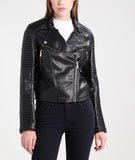 Biker / Motorcycle Jacket - Women Real Lambskin Leather Biker Jacket KW221 - Koza Leathers