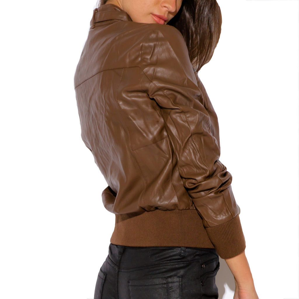 Biker / Motorcycle Jacket - Women Real Lambskin Leather Biker Jacket KW468 - Koza Leathers