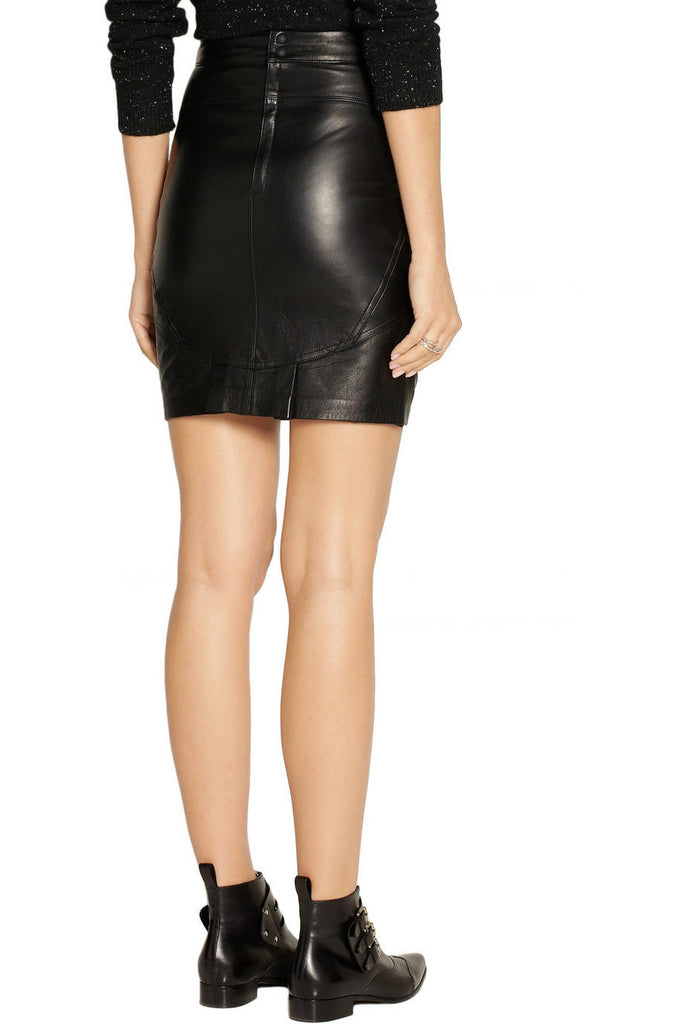 Knee Length Skirt - Women Real Lambskin Leather Slim Fit Skirt WS076 - Koza Leathers