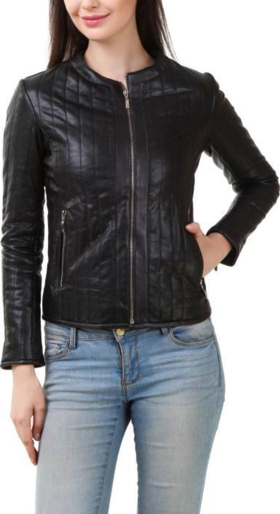 Biker / Motorcycle Jacket - Women Real Lambskin Leather Biker Jacket KW403 - Koza Leathers