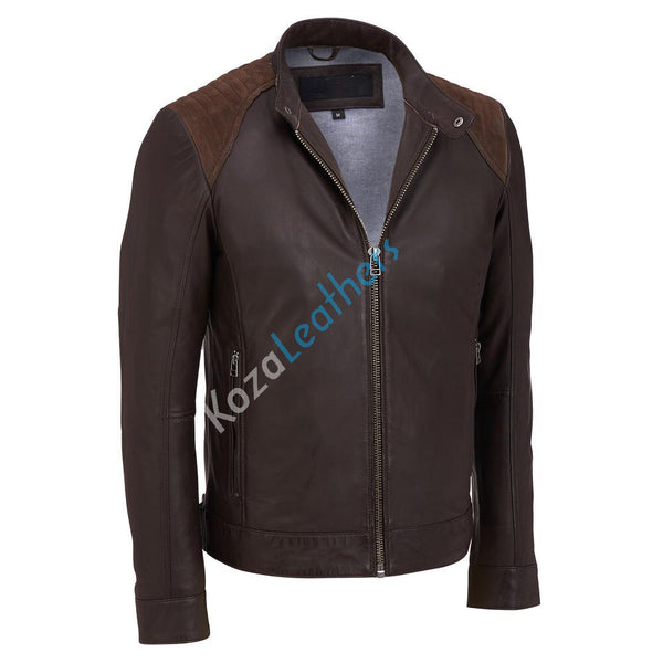Biker Jacket - Men Real Lambskin Motorcycle Leather Biker Jacket KM173 - Koza Leathers