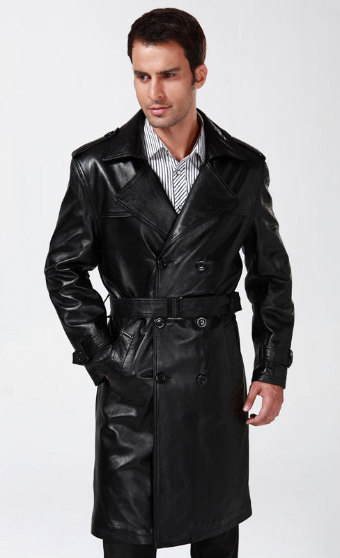 Koza Leathers Men's Genuine Lambskin Trench Coat Real Leather Jacket TM002