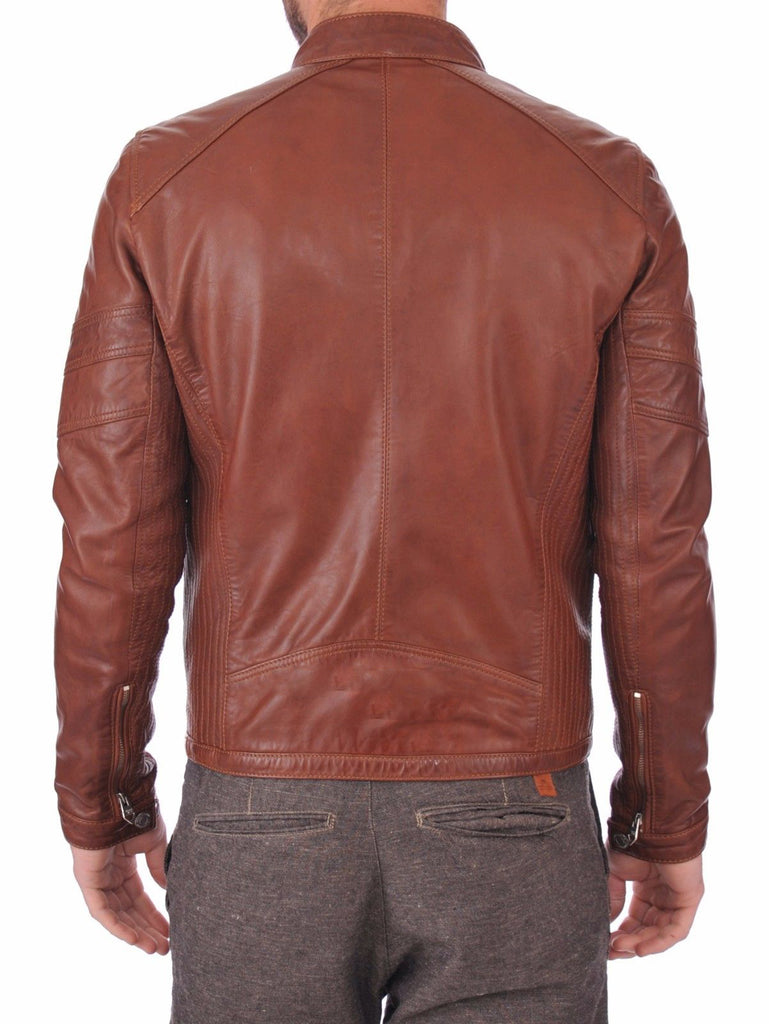 Biker Jacket - Men Real Lambskin Leather Jacket KM132 - Koza Leathers