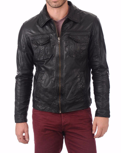 Biker Jacket - Men Real Lambskin Leather Jacket KM135 - Koza Leathers