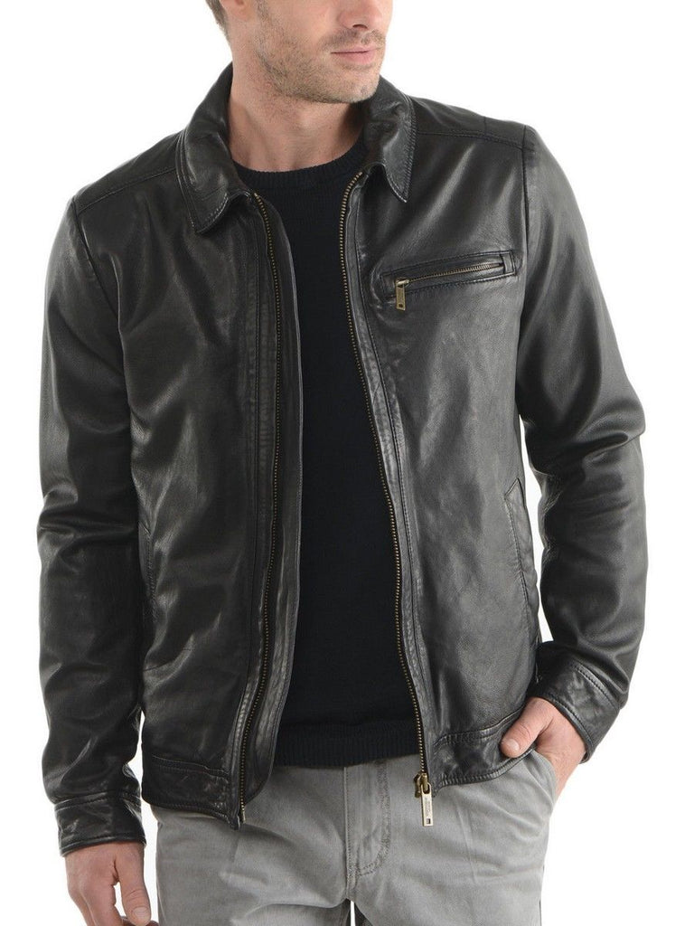 Biker Jacket - Men Real Lambskin Leather Jacket KM142 - Koza Leathers