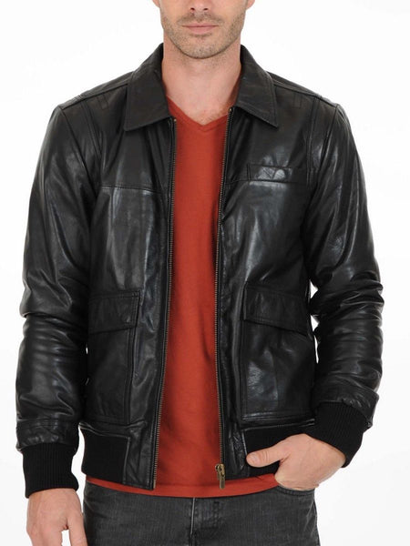 Biker Jacket - Men Real Lambskin Leather Jacket KM145 - Koza Leathers