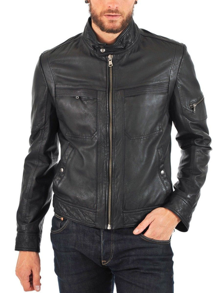 Biker Jacket - Men Real Lambskin Leather Jacket KM146 - Koza Leathers