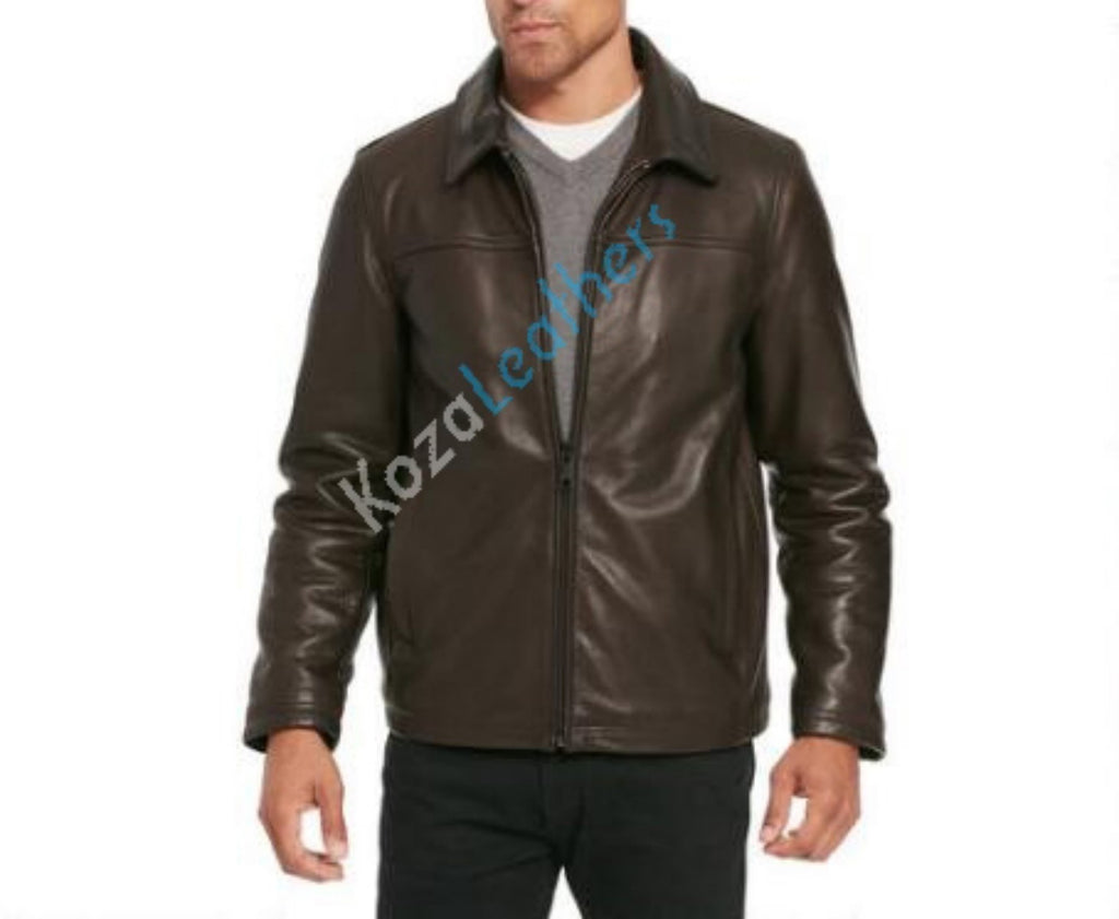 Biker Jacket - Men Real Lambskin Motorcycle Leather Biker Jacket KM152 - Koza Leathers
