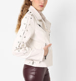 Women Real Lambskin Leather Biker Jacket KW556