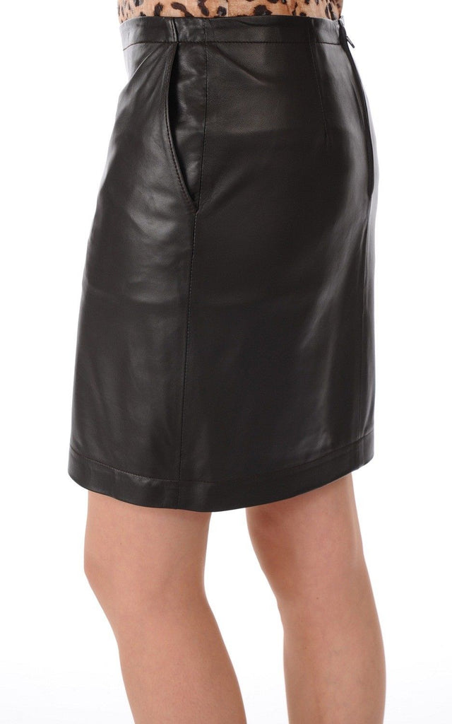 Knee Length Skirt - Women Real Lambskin Leather Slim Fit Skirt WS043 - Koza Leathers