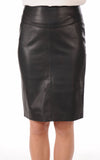 Knee Length Skirt - Women Real Lambskin Leather Slim Fit Skirt WS078 - Koza Leathers