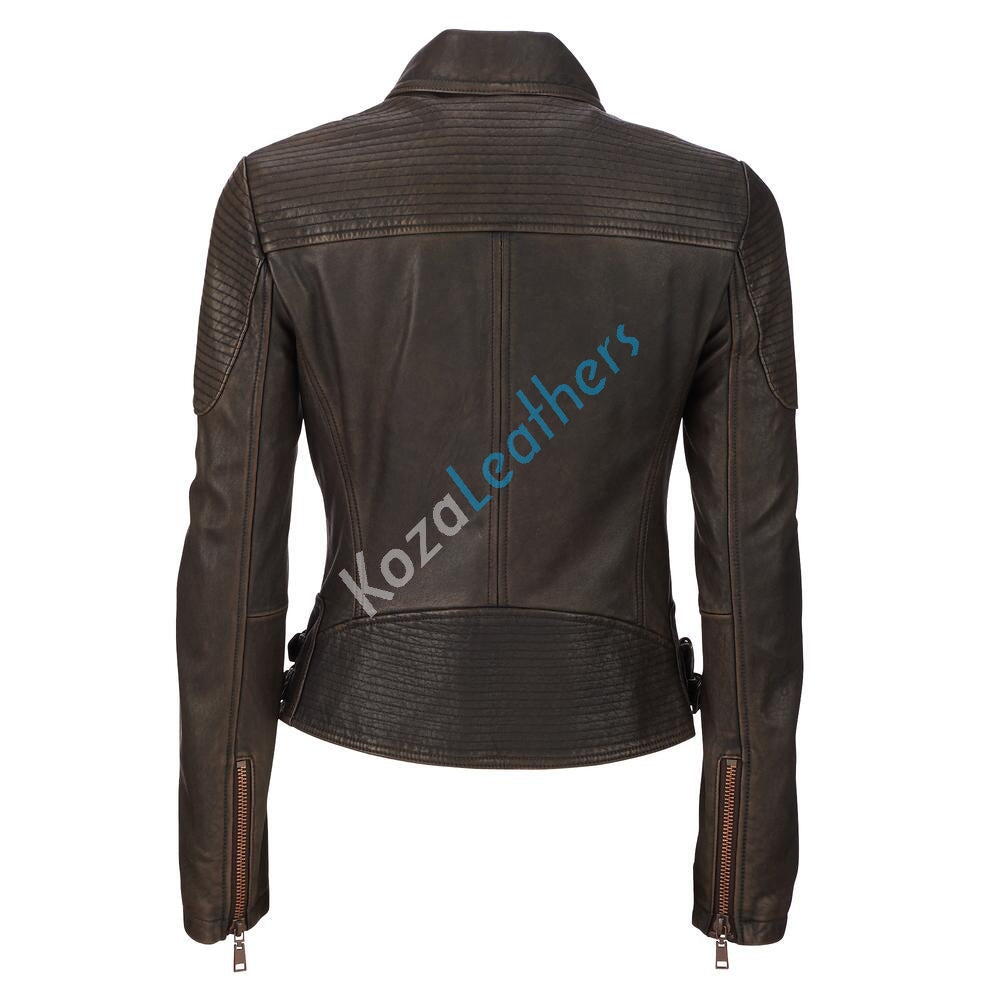 Biker / Motorcycle Jacket - Women Real Lambskin Leather Biker Jacket KW128 - Koza Leathers